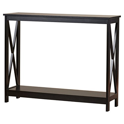 (Washington Console Table - Featuring a Bottom Shelf That Provides Plenty of Space to Display Collectibles - Rich Glossy Black Finish (Black))
