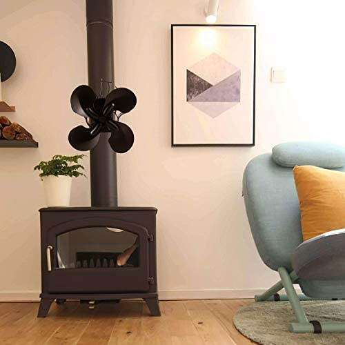 Laisetey Silent Flue Pipe 4 Blades Stove Fan, Fireplace Blower Heat Powered Fan for Wood/Log Burners Chimney Fireplace-Eco-Friendly Black (4 Blades Hang)