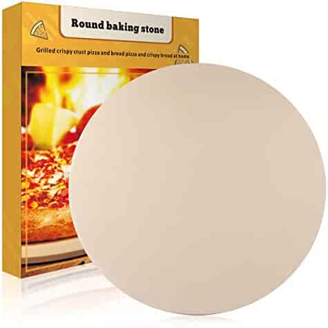 Pizza Stone, ShamBo 16''x 16'' Round Thermarite Engineered Tuff Cordierite Durable Baking Stones for Ovens & Grill & BBQ, Stone Oven Round Pizza Stone