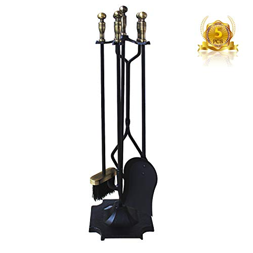 Everflying 5 Pieces Fireplace Tools Tool Set Wrought Iron Fireset Firepit Fire Place Pit Poker Wood Stove Log Tongs Holder Tools Kit Sets with Handles Bronze (Poker Fire Sets)