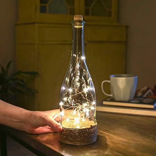 Festive Lights Glass Bottle Lamp – Copper Wire Lights – 29cm – Battery Operated