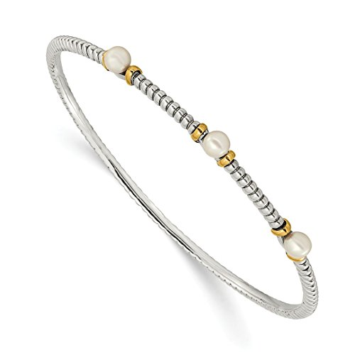 925 Sterling Silver 14k 4.5mm Freshwater Cultured Button Pearl Bangle Bracelet Cuff Expandable Stackable Slip On Fine Jewelry For Women Gift Set