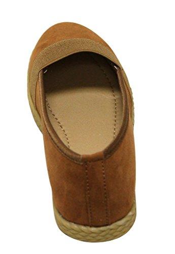 Bella Marie Lexi-8 Womens almond toe suede upper oxford soft comfort sole slip on flat shoes Tan mjpGBk