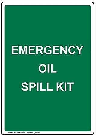 AmyyEden Kit de derrames de Aceite de Emergencia, señal de Metal de Aluminio, 8 x 12 Pulgadas con Texto en inglés, Color Verde