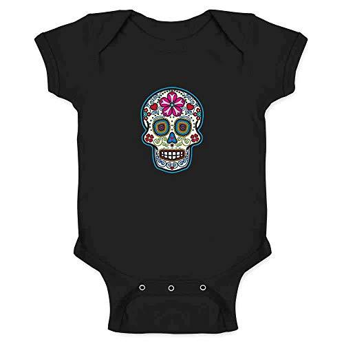 Sugar Skull Dia de Los Muertos Horror Retro Black 6M Infant Bodysuit