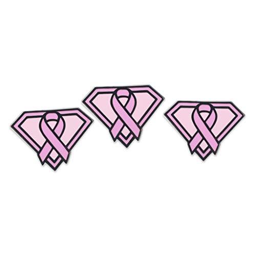 WIZARDPINS Super Woman Pink Ribbon Shield Breast Cancer Awareness Enamel Pin- 5 Pins