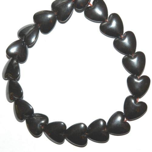 NG2360 Metallic Gunmetal 12mm Flat Puffed Heart Hematite Gemstone Beads 15'' Crafting Key Chain Bracelet Necklace Jewelry Accessories Pendants (12mm Charm Puffed Heart)