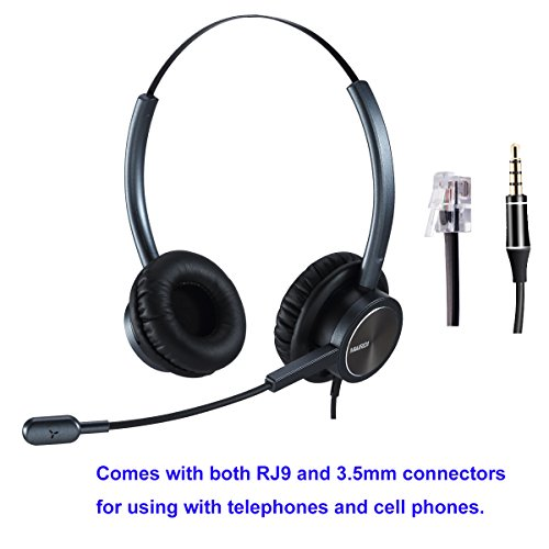 Phone Headset RJ9 Call Center Headset with Noise Cancelling Mic with Extra 3.5mm Connetor for Mobiles Compatible with Avaya Nortel Aastra Toshiba Phone