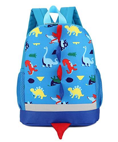 Kids Waterproof 3D Dinosaur Print Backpacks Girls Boys School Bag Bookbags for Children 1-5 Years, Blue (Best Backpack For First Grader)