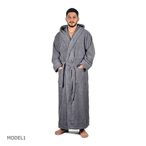 Arvec Men's Combed Turkish Cotton Terry Full Ankle Length Hooded Bathrobe (X-Large/XX-Large, Grey) by Arvec (Image #6)