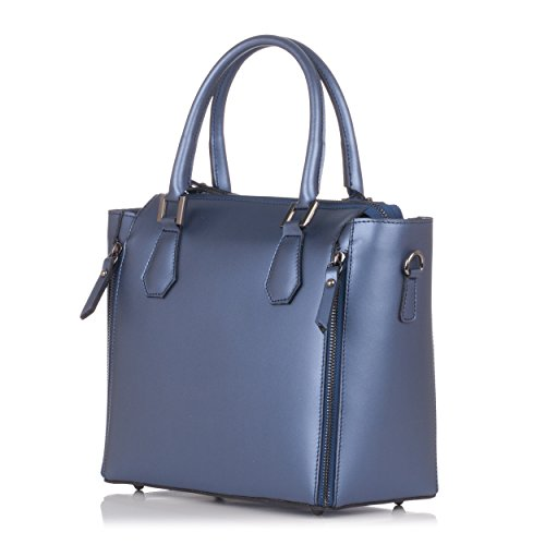 Leather Style Moretti Doctor Laura Metatlizad Handbag Blue q8Znt05x