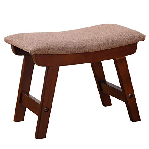 Yzdz Change Shoe Stool Foot Stool Upholstered Footrest Wooden Retro Ottoman Dust-Proof Hallway Stand Chair Bench Linen Fabric Seat Cushion for Living Room Available Light Brown