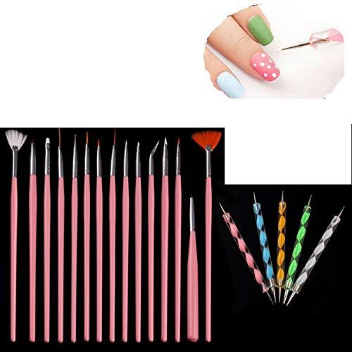 Kashyk 20Pcs/Set Nail Art Design Painting Pen Brushes Set,Uniquely DIY Painting Drawing Pens Polish Brush StrokesPen Tools Kit Nail Salon Applicator Gift for Liquid Cream (Pink)