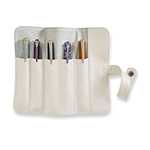 Levenger Compact Leather Pearlescent Pen Rollup Case - Pen Case, Pearl White (AL15010 PRWH NM)
