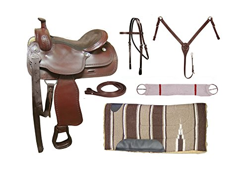 Tahoe Barbed Wire Tooled Leather Trail Saddle, Mohogany, (Tooled Leather Seat)