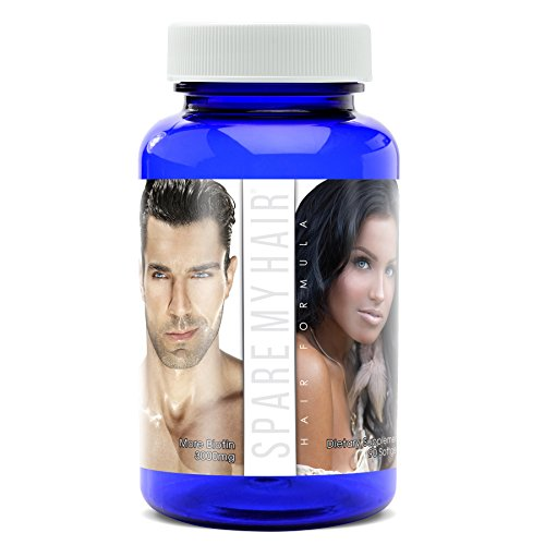 Spare My Hair Vitamins for Hair Growth Supplement with Biotin, Vitamins for Healthy Hair Treatment for Men & Women, Visible Results in 1 Month Longer Stronger Silky Soft Hair - Gluten Free, 90 Pills