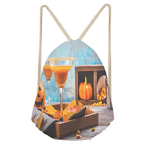 Sports Drawstring BackpackAutumn pumpkin margarita cocktail with halloween d]()