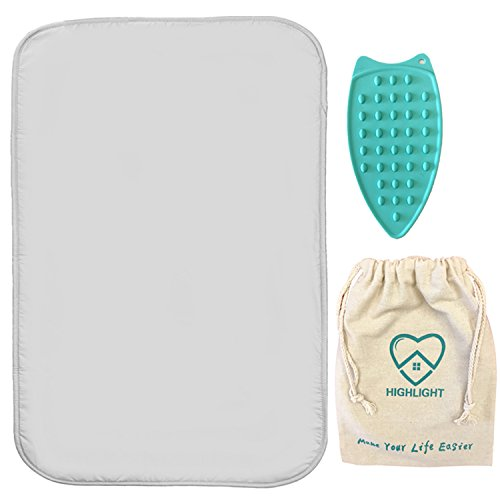 Premium Non-Slip Ironing Mat, 100%Cotton Flat thick Large Ironing Blanket, Portable Travel Ironing Pad, New Design Table Top Ironing Cover-Ideal for Travelling| W19x L28, Silver Color