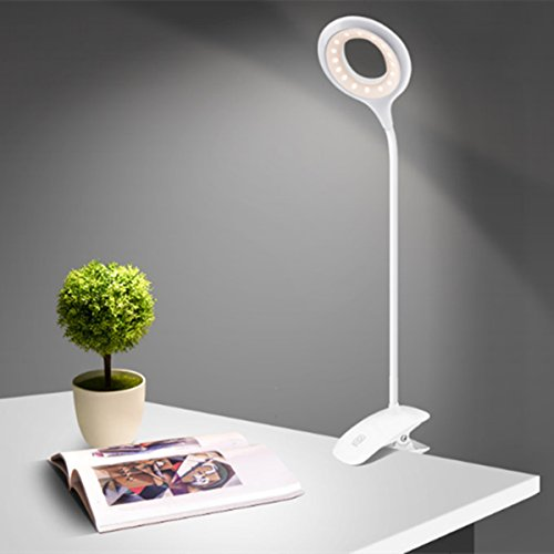 Clamp Desk Light, GLISTENY Dimmable Clip Bedside Lamps 3