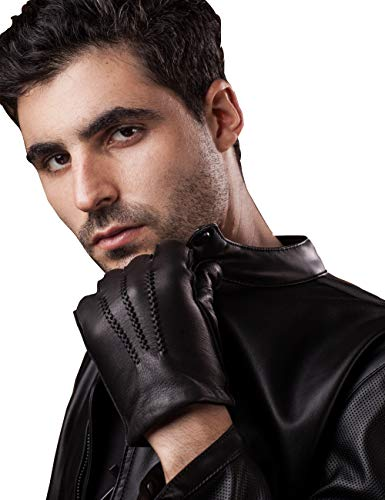 YISEVEN Mens Deerskin Leather Dress Gloves Cashmere Lined Three Points Short Cuff Genuine Natural Luxury and Warm Fur Heated Lining for Winter Driving Motorcycle Work gifts for men, Black 9.0