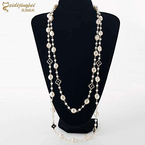 maket Simulated Pearl Long Necklaces for Women Gold Color Chain Rhinestone Four Leaf Clovers Strand Beads Female Sweater Necklace(Gold,)