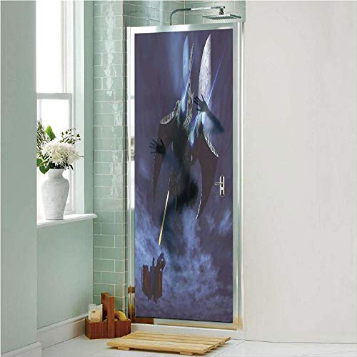 """Galaxy 3D No Glue Static Decorative Privacy Window Films, A Lighter and Spaceship Blasts a Laser Beam an Enemy Battleship Galaxy Wars Pattern,24""""x70.8"""",for Home & Office Decor,Blue Black"""