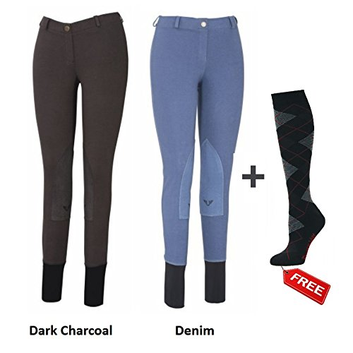TuffRider Women Starter Lowrise Pull On Breeches with FREE Socks | Pack of Two Horse Riding Pants | Equestrian Apprael - DarkCharcoal and Denim - Size 32 (Riding Tuffrider Jeans)