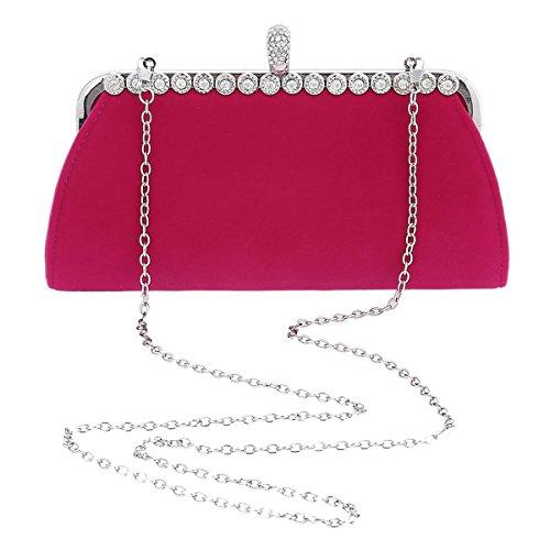 Damara Moda Mujeres Carteras Con Diamante Bolso De Hombro Regalo,Rosa Rojo