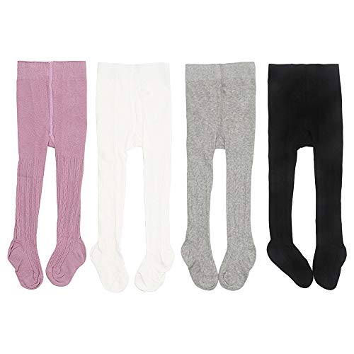 Looching 5 Pack Baby Toddler Girls Cute Cable Knit Cotton Tights Pantyhose Leggings Stocking Pants 12-24 Months,Normal Style-5 pack