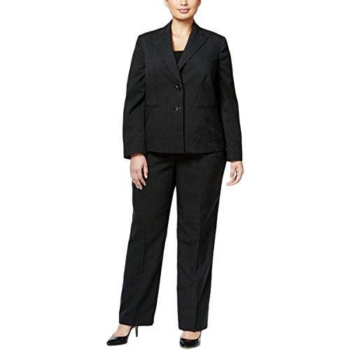 Le Suit Women's Plus Size Pinstripe 2 Button Jacket Pant Suit, Black/Calypso, 20W by Le Suit