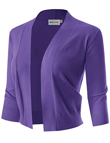 MAYSIX APPAREL 3/4 Sleeve Solid Open Bolero Cropped Cardigan for Women Ultraviolet M