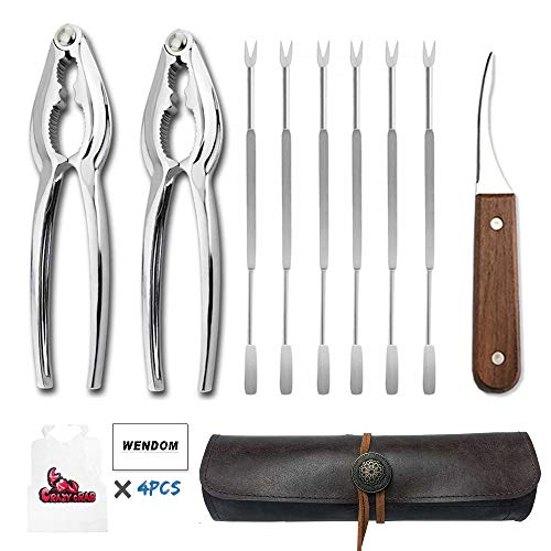 WENDOM Lobster Crackers and Picks Seafood Tool Set with Leather Carry Case,included 6pcs Stainless Steel Forks,2pcs Crab Leg Crackers and 1pc Shrimp Deveiner Tool(included 4pcs crab bibs)