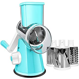 M-MASTER Cheese Grater,Graters for Kitchen Efficient Vegetable Slicer with 3 Interchangeable Round Stainless Steel Blades,Easy to Clean Rotary Cheese Grater for Fruit, Vegetables, Nuts.