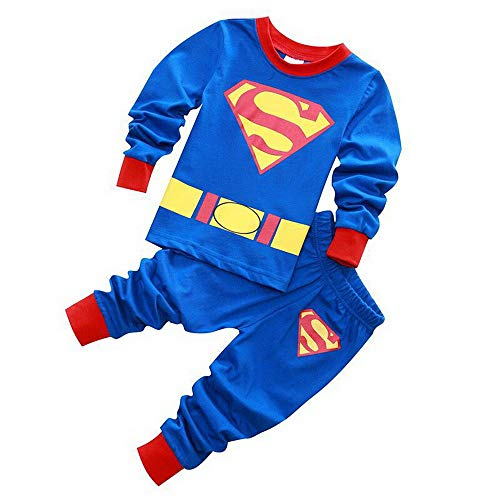 Meteora Boys Pajamas Kids Short Sets 100% Cotton Clothes Cartoon Sleepwears (Superman, 3-4) ()