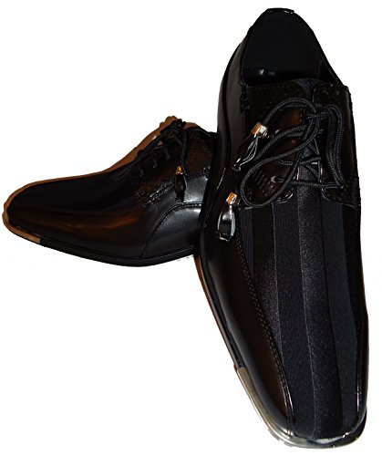 Expressions 4925 Mens Fancy Black Silvertip Cool Tux Dress Shoes (11) VU9ztDHpR