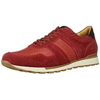 MARC JOSEPH NEW YORK Men's Leather Made in Brazil Luxury Fashion Trainer Sneaker, Red Suede, 9.5 M US