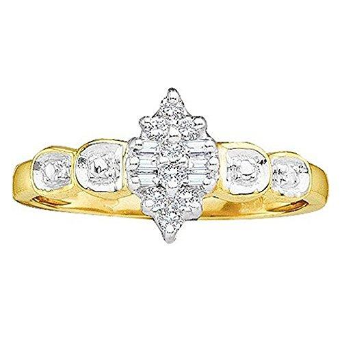 0.10 Carat (ctw) 10K Yellow Gold Round & Baguette White Diamond Ladies Cluster Promise Ring 1/10K (0.1 Ct Baguette Diamonds)