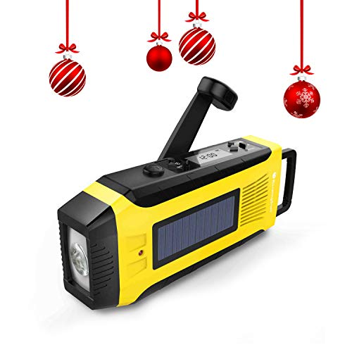 RunningSnail AM/FM NOAA Weather Emergency Solar Digital Crank Radio with 3W LED Flashlight, SOS Alarm & 2000MAh Power Bank(Yellow) …