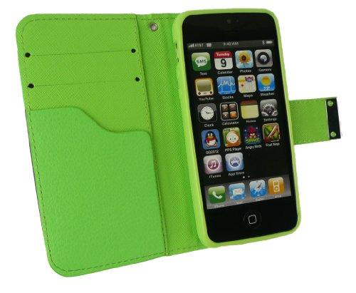 Emartbuy® Sparkling Stylus Pack Para Apple Iphone 5 5s Lujo Escritorio La Carpeta Del Soporte Caso / Cubierta / Carcasa / Bolsa Bloques Verde / Naranja / Blanco Con Ranuras Para Tarjetas De Crédito +