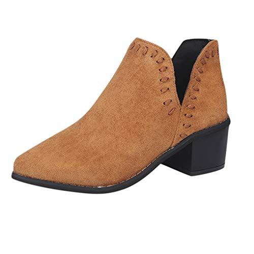 Bottines Cheville Femmes Bottes Solide Martin Roman Automne Femmes Courtes Chaussures Marron BaZhaHei Dames Chaussures Simple fFwfq