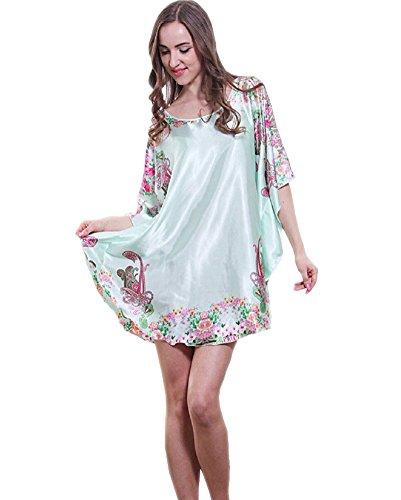 SexyTown Women's Plus Size Short Batwing Sleeve Nightgown (Green) (Kimono Dress Charmeuse)