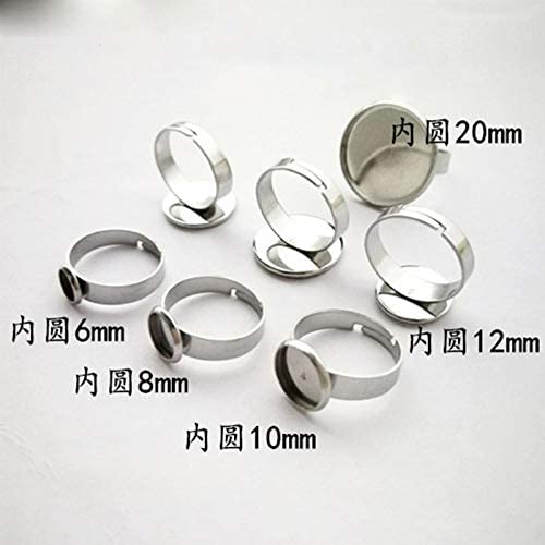 Laliva Accessories 20pcs//lot 316L Stainless Steel Ring Settings 6-25mm Inner Size Ring Round Blank Cabochon Base Trays DIY Jewelry Making Findings Color: as Photo, Size: 25mm 10pcs