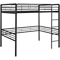 DHP Full Metal Loft Bed with Ladder, Space-Saving Design, Black