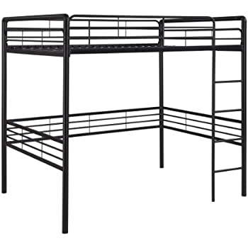 dhp full size loft bed with metal frame and ladder black - Loft Bed Frame Full