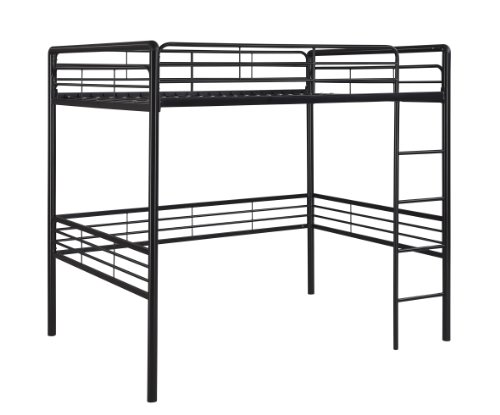 DHP Full Metal Loft Bed with Ladder, Space-Saving Design, Black by DHP