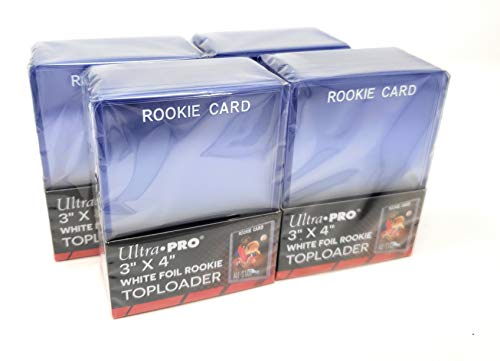 Card Rookie Foil - 4 Ultra Pro Regular Top Loader Pack W/white Rookie Foil Print - 25 Toploaders Per Pack (100 Total) - Standard Size Baseball, Basketball, Football, Hockey