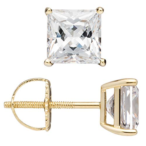 14K Solid Yellow Gold Stud Earrings | Princess Cut Cubic Zirconia | Screw Back Posts | .58-4.0 CTW | With Gift Box