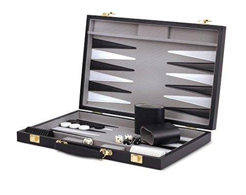 WE Games Black Backgammon Set- 14.75 - Wood Black Backgammon
