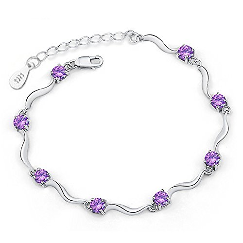 MIXIA 925 Sterling Silver Plated Bracelet for Women Charm Wave Bamboo Bracelet Cubic Zircon Crystal Bracelet Gift (Purple) (Bracelet Silver Bamboo Bangle)