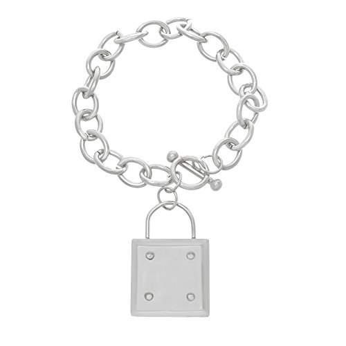 LESA MICHELE Stainless Steel Dangling Rolo Toggle Bracelet